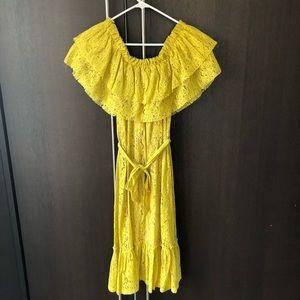 Zara off the shoulder dress yellow size small